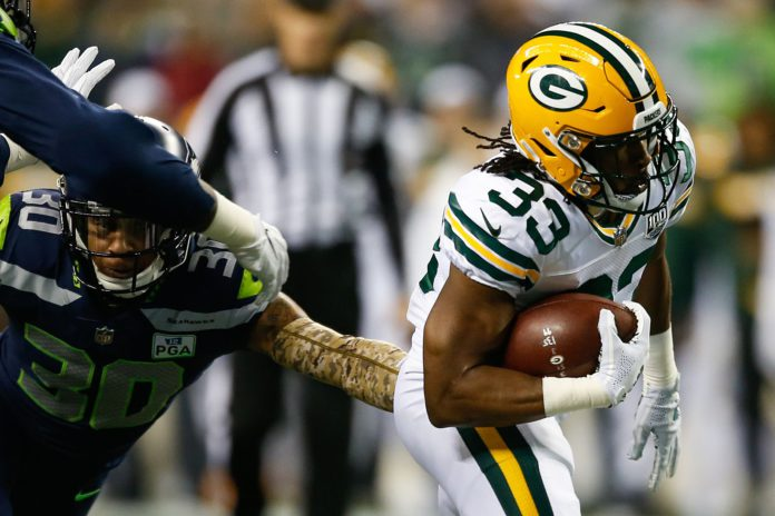 Aaron Jones had a monster 4 touchdown performance in Monday's game. We've got the rest of the MNF Week 2 Wraup