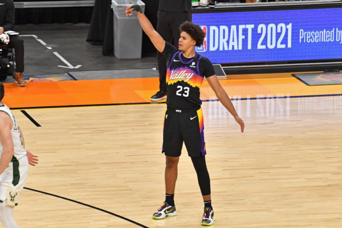 Cameron Johnson shooting a three in Game 1 of the NBA Finals