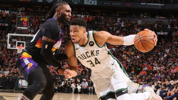 Giannis drives to the rim against Jae Crowder in the NBA Finals.