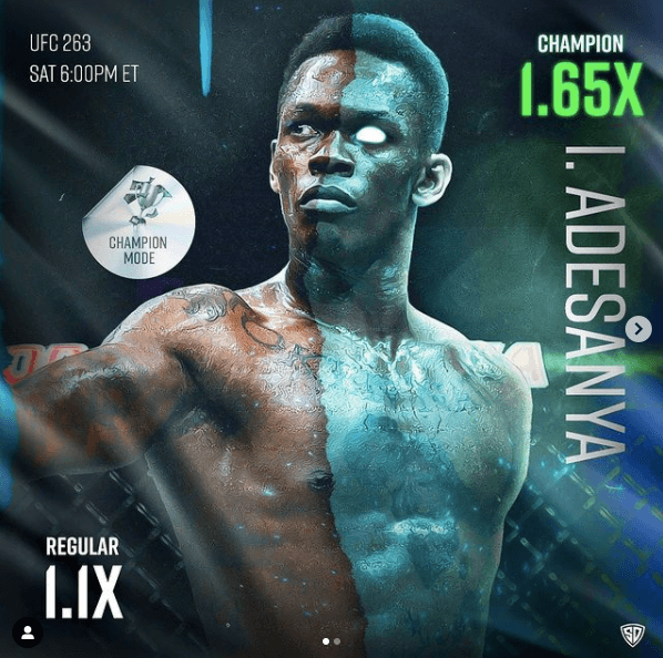 Israel Adesanya's multiplier goes from 1.1X to 1.65X after being selected as the Champion in the Champion Game Mode.