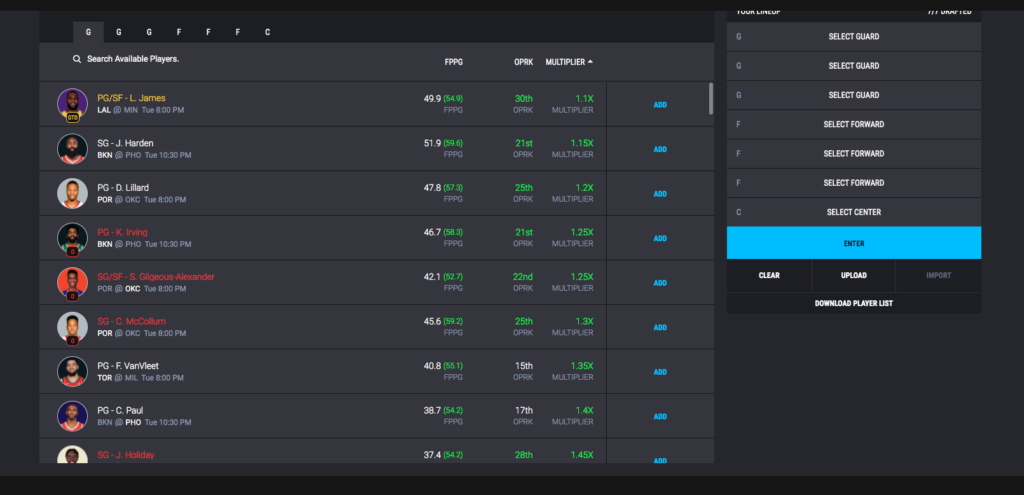daily fantasy sports, multiplier game mode