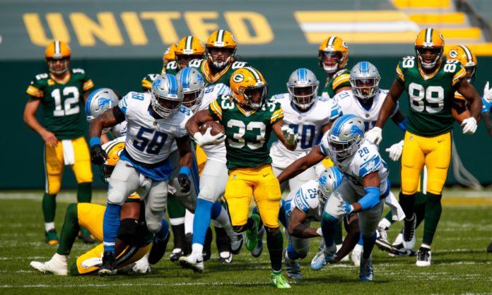 Aaron Jones looks to run through the Lions in tonight's Monday Night Football game.